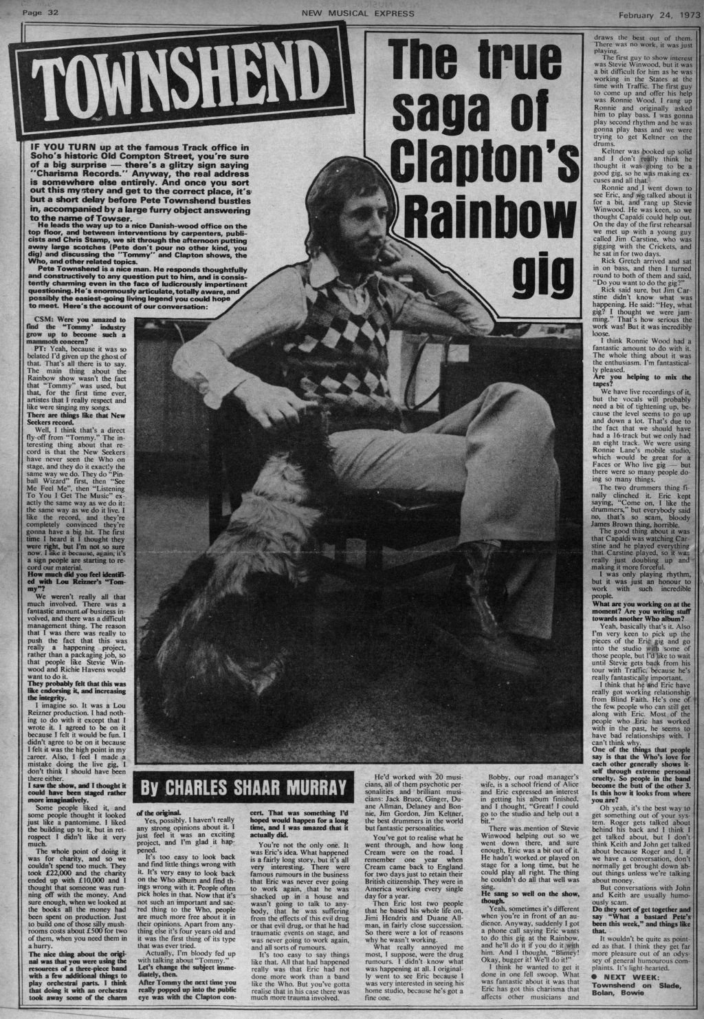 New Musical Express interview with Pete Townshend from February 24, 1973
