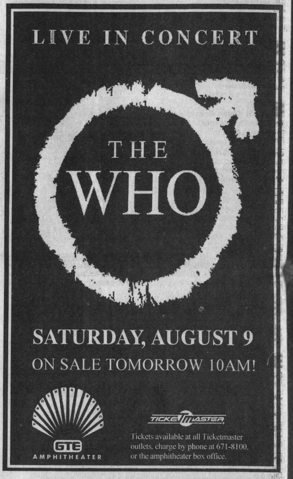 Ad for The Who's August 9, 1997 concert