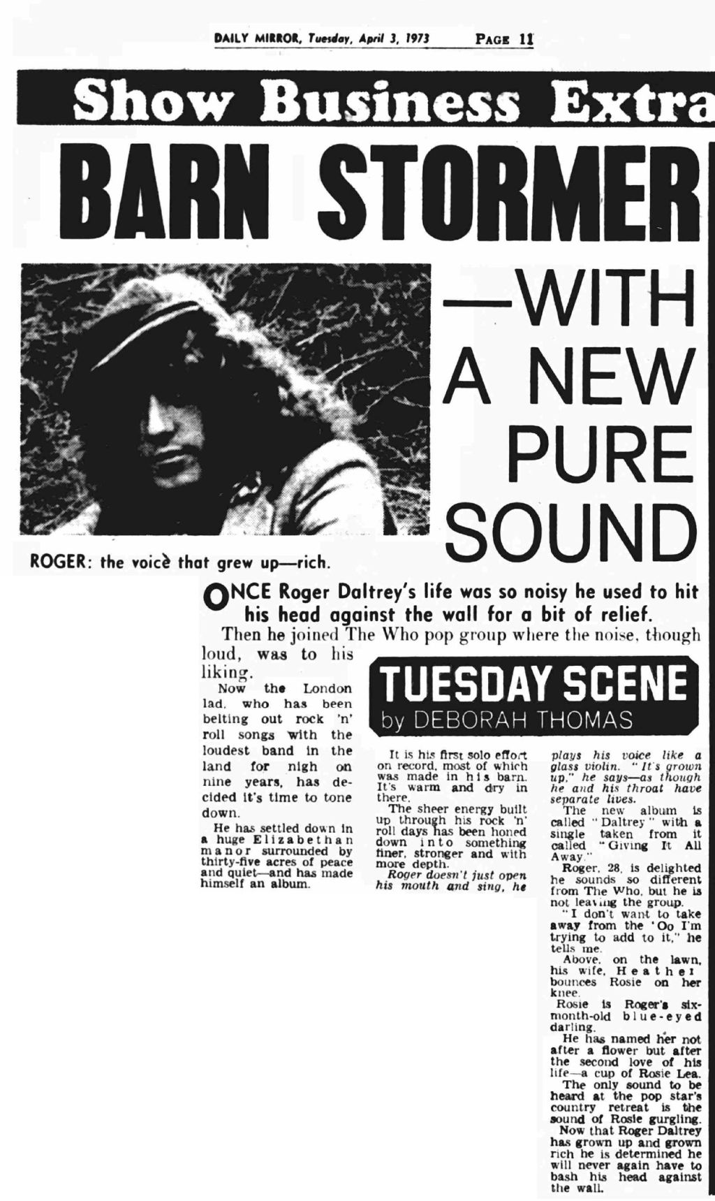 Article from the Daily Mirror on April 3, 1973