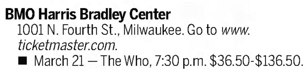Newspaper listing for The Who's March 21, 2016 concert