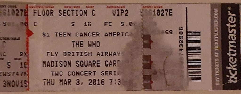 Ticket to The Who's March 3, 2016 concert
