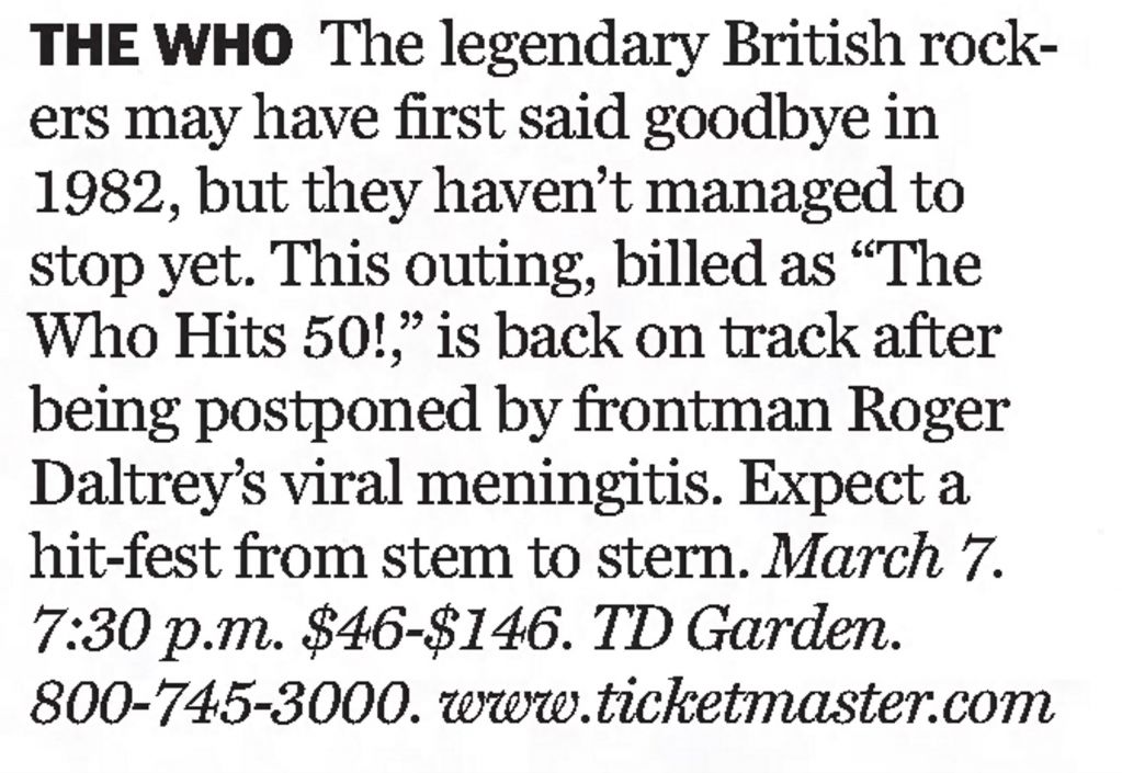 The Boston Globe's mention of The Who's March 7 2016 concert