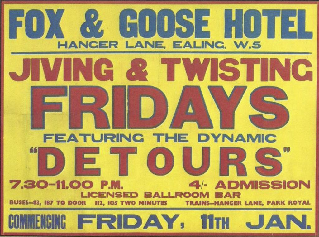 Poster for Detours at Fox & Goose Hotel on January 11, 1963