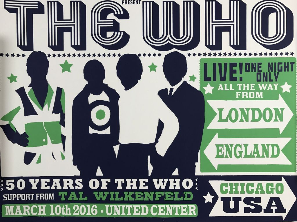 Poster for The Who's March 10, 2016 concert in Chicago, Illinois