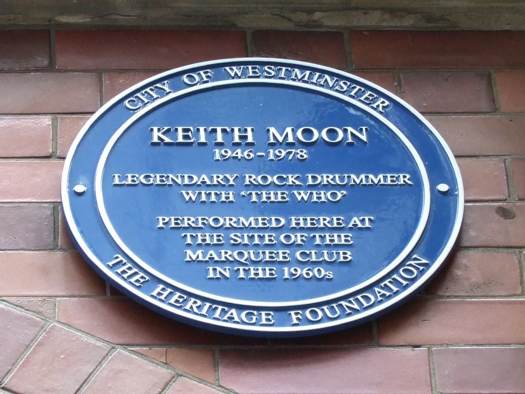 Blue Plaque at 90 Wardour street - former location of the Marquee Club
