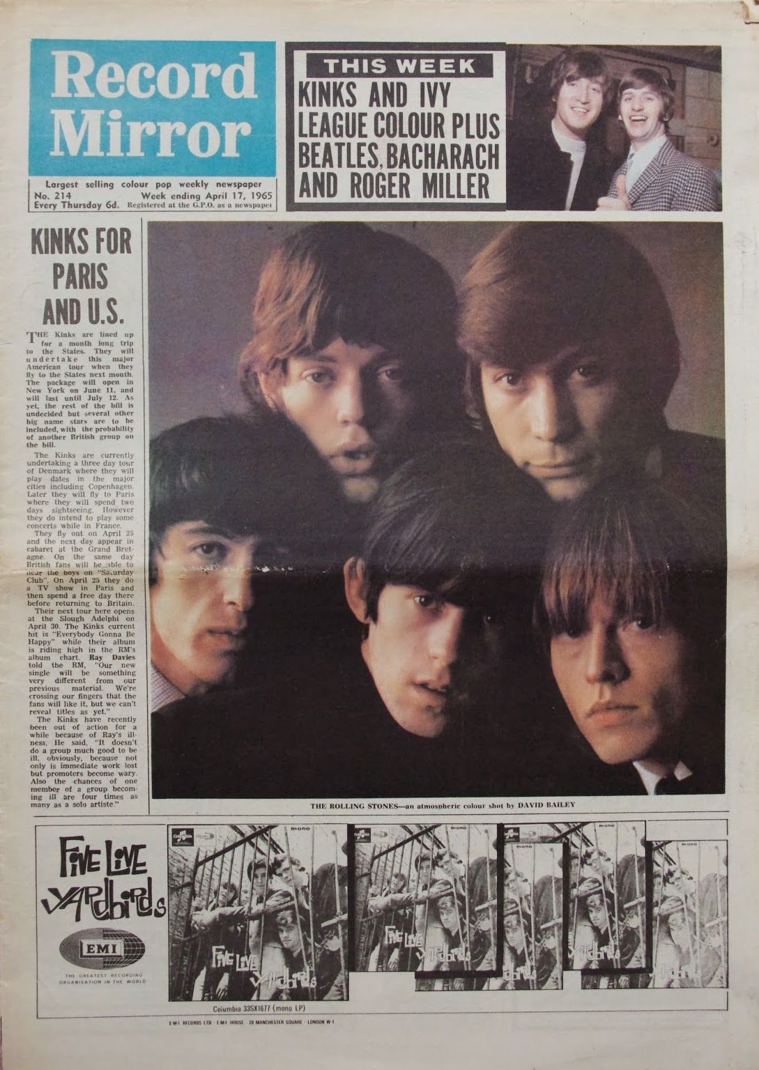 Cover of the April 17, 1965 issue of Record Mirror