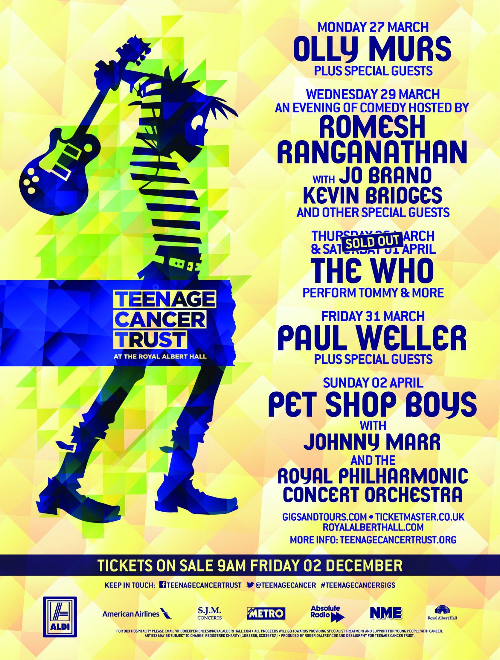 Ad for The Who's appearances at the 2017 Teenage Cancer Trust concerts on March 30 and April 1