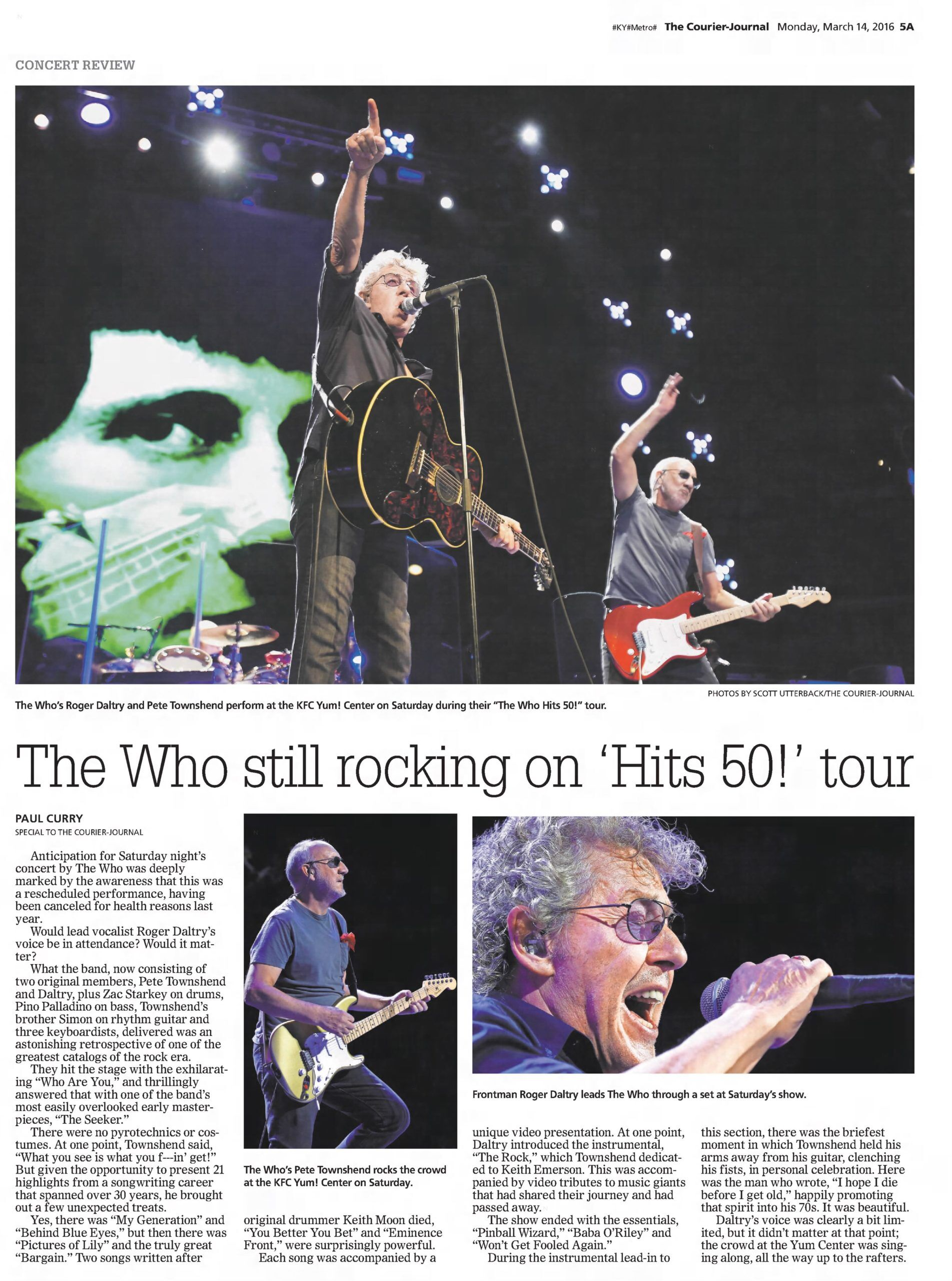 Review of The Who's March 12, 2016 concert