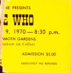Ticket stub for The Who's May 9, 1970 concert