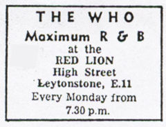 Ad for The Who at The Red Lion in 1964
