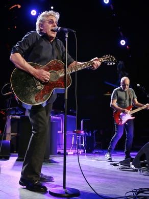 Roger Daltrey and Pete Townshend performing with The Who in Detroit on February 27, 2016