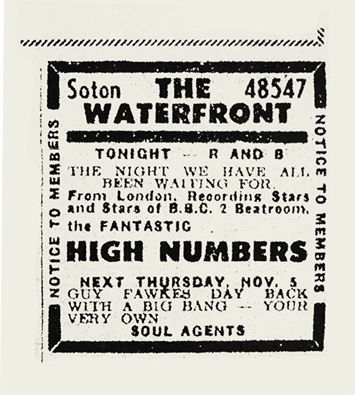"""Ad for the """"High Numbers"""" show at The Waterfront on October 31, 1964"""