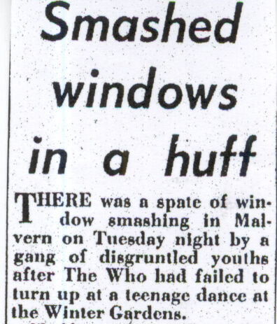Newspaper report for The Who's cancelled show on May 3, 1966