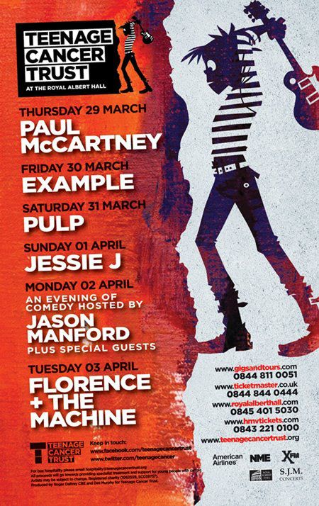 Poster for the 2012 Teenage Cancer Trust concerts at the Royal Albert Hall
