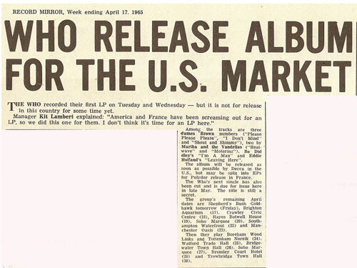 April 17, 1965 Record Mirror article on The Who