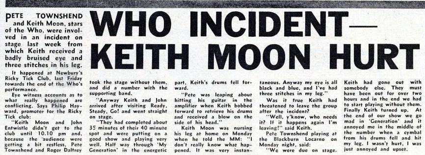 May 28, 1966 Melody Marker article describing the incident between Keith Moon and Pete Townshend on May 20, 1966