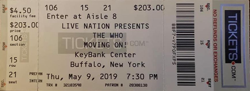 Ticket for The Who's May 9, 2016 concert in Buffalo, New York