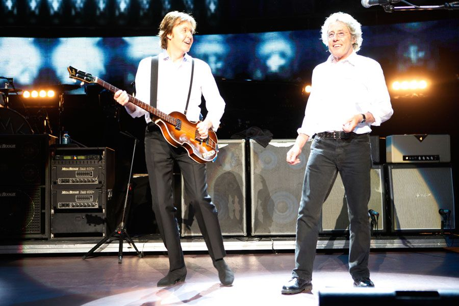 Roger Daltrey and Paul McCartney at the Royal Albert Hall on March 29, 2012